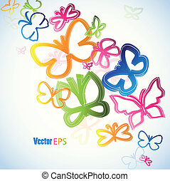 Illustration with colorful butterfly. Vector art