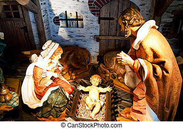 Christ Child in manger - A Christian is a child at Christmas...