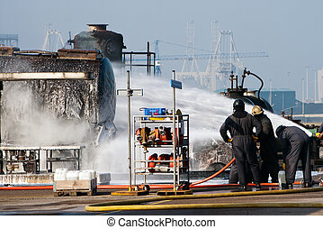 Firefighters exercise - Firefighters at a training exercise...