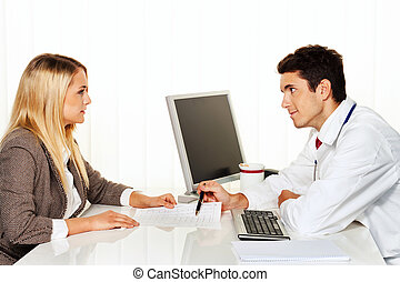 Doctors call. Patient and doctor talking to doctor