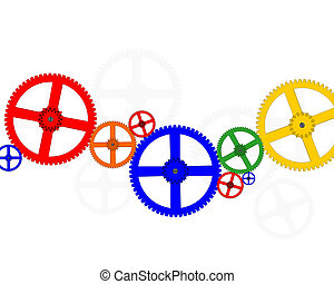 Color Gears - colorful gears white background