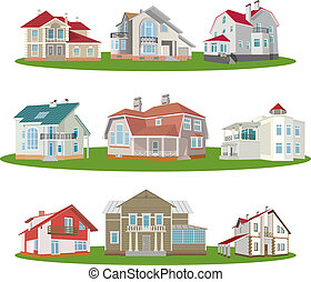 Cottages. Set. Vector illustration for you design