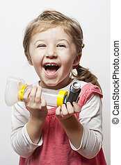 inhalation - little girl being happy that she finally is...