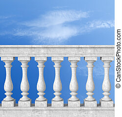 balustrade with pillar on blue sky - stone white balustrade...