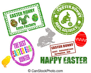 Easter stamps - Collection of isolated grunge Easter stamps...