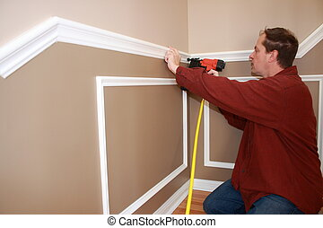 wainscotting trim instalation