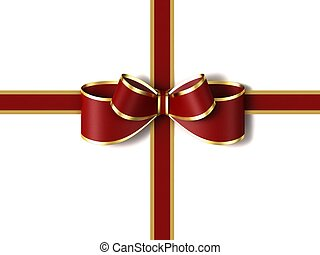 Red gift ribbon with a bow.