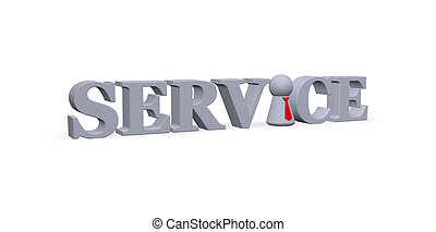 service - play figure with tie and the word service - 3d...