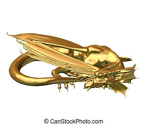 Golden Dragon Statue - sleeping - Statue of a sleeping gold...