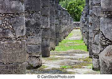 Chichen Itza - Ancient Mayan temple detail at Chichen Itza,...