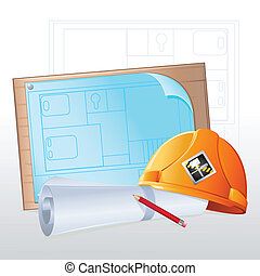 Hard Hat with Blue Print - illustration of hard hat with...