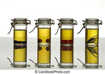 bottles of aromatic oil
