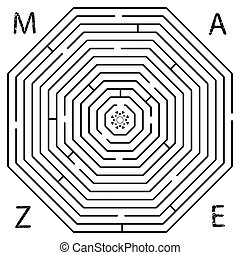 octagon maze against white background, abstract art...