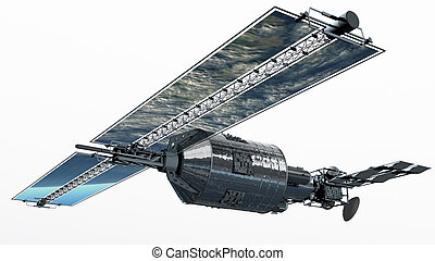 Telecommunication Satellite flying with solar panels...