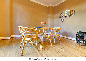 Beige walls and simple dining table