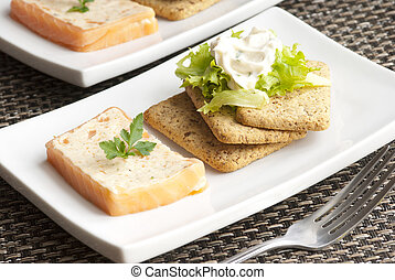Salmon terrine - Smoked salmon and dill terrine with lettuce...