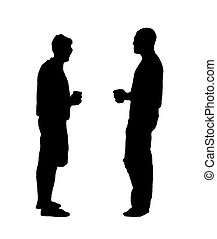 Men Drink Beer Silhouette - A black and white silhouette of...