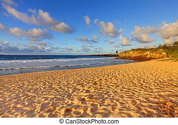 Tropical sunset. Oneloa Beach, Maui Hawaii