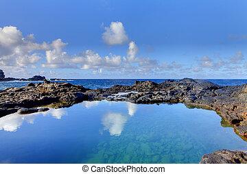 Olivine Pools rocks and ocean.  West Maui, Hawaii