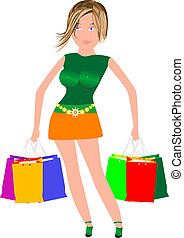 girl with shopping bags on the sale - sexy woman with many...