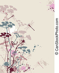 Grunge background with flowers and dragonfly - Background...