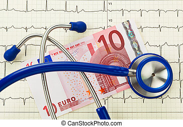 Stethoscope and ten euro note - Stethoscope and ten euro...