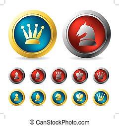 botones, dorado, plata, ajedrez