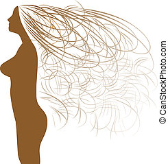 Abstract woman silhouette and beaut - Abstract silhouette of...