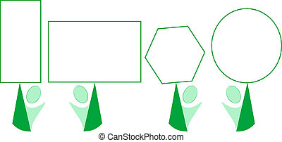 smile green cartoon with blank