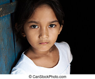 Young Asian girl portrait - child from Philippines against...