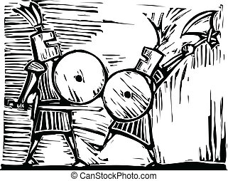 Fighting Knights - Two knights with swords, axes and shields...