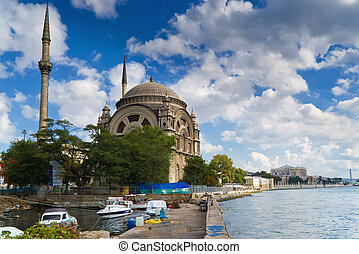Bosphorus and Dolmabahche Mosque, Istanbul, Turkey