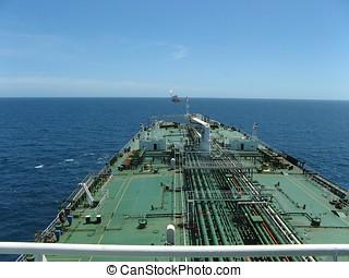 Oil tanker approaching a FPSO