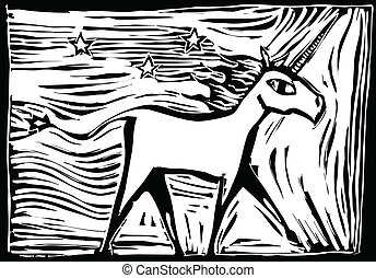 Woodcut Unicorn - Woodcut image of a mythical Unicorn...