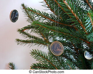 christmas tree and coins