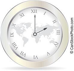 vector illustration of silver clock