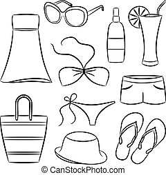 A set of beach accessories. Vector illustration.