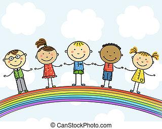 crianças, vetorial, Ilustração