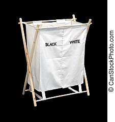 Laundry hamper - Empty laundry hamper isolated with clipping...