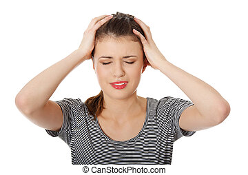 Teen woman with headache holding her hand to the head,...