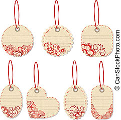 Flower tags. Vector illustration.