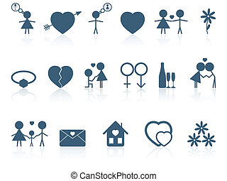 Set of love icons.
