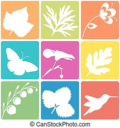 Nature silhouette set Vector illustration