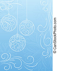 New Year\'s background with snowflakes and balls. Vector...