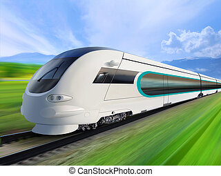 super streamlined train with motion blur moves on...