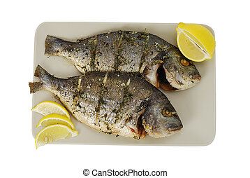 Two roasted denis fishes on plate - Two roasted denis sea...