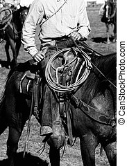 Real Cowboys Riding black and whit - Close up of a real...
