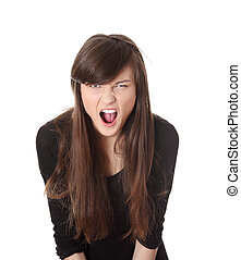 A frustrated woman is screaming out loud. - A frustrated and...