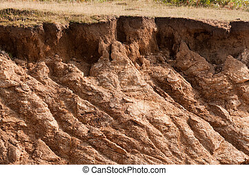 Bad land - Landslide or damaged landscape of mud deeply...