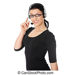 Call center woman with headset Isolated on white